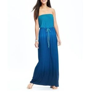 BLUE OMBRE DIP DYE MAXI DRESS